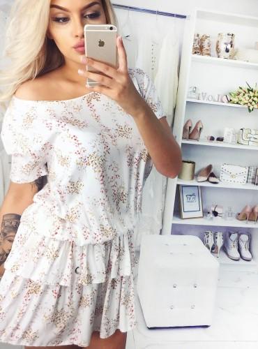 Sukienka FIONA - kremowa w gałązki
