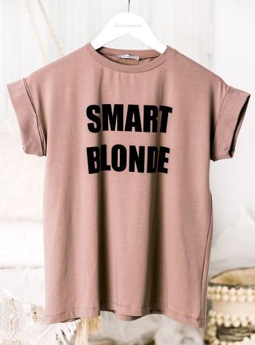 T-shirt SMART BLONDE - brudny róż/beż
