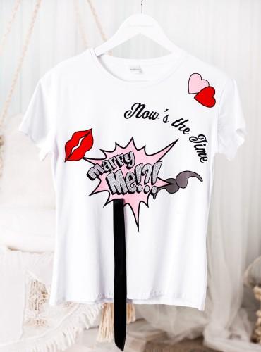 T-shirt MARRY ME? - biała