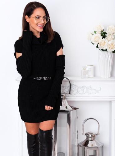 Sweter CAMILE bez ramion - czarny