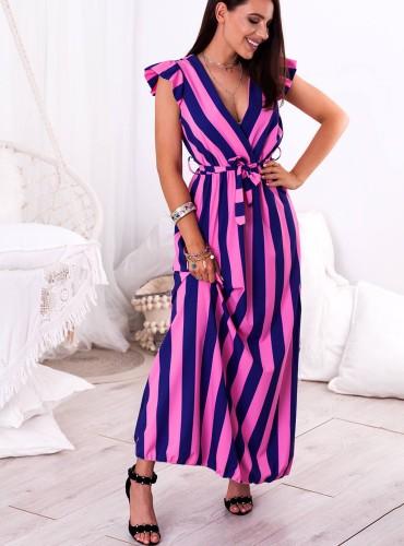 Sukienka MAXI INES - granatowo różowe paski