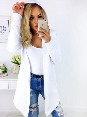 Bluza z kapturem COTTON - biała