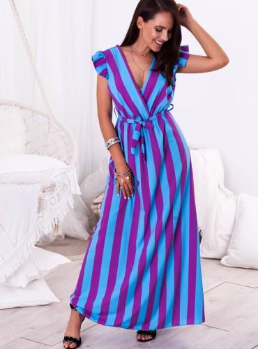Sukienka MAXI INES -  niebiesko fioletowe paski