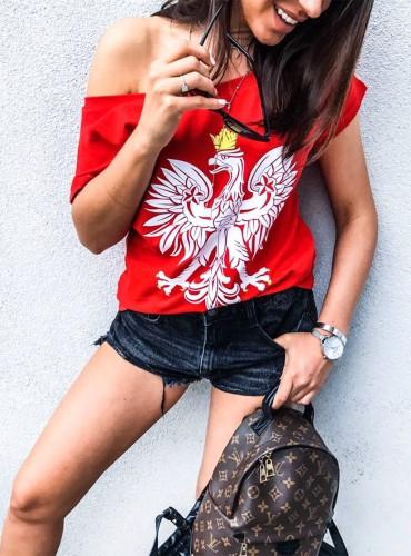 t-shirt EAGLE - czerwony z białym orłem