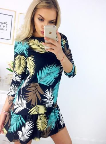 Sukienka NOLLA - czarna w liście