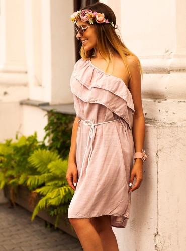 Sukienka SPAIN FALBANKA ASYMMETRIC BRUDNY RÓZ
