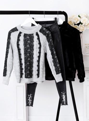 Sweter AMBER z koronką - szary