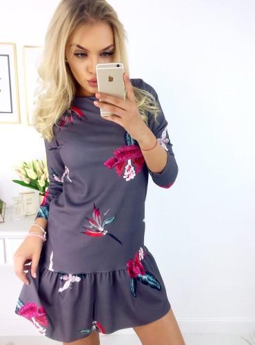 Sukienka NOLLA - grafitowa w kwiatki
