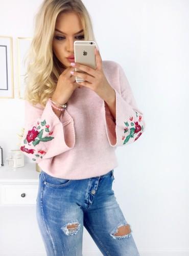 Sweterek Floresa - pudrowy róż